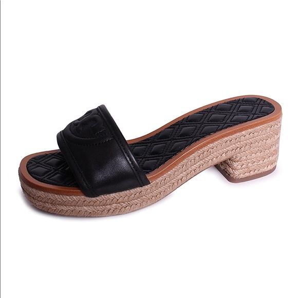 dd36c16ac19ed8 Tory Burch Fleming Blk Slide Espadrille Sandal 6.5